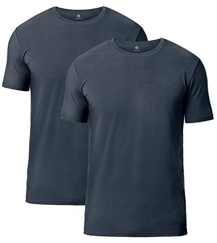 LAPASA Pack de 2 Camisetas de Hombres Manga Corta de Austria Lenzing Micromodal® (Origen Natural) (Gris/Grey (Cuello Redondo), M (Largo 71, H-H 41,9, Pecho 96-102 cm))
