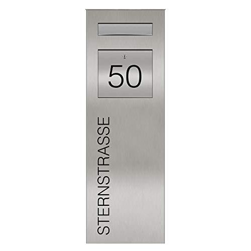 Edelstahl Briefkastensäule Standbriefkasten mit Hausnummer & Schriftzug • Stele mit integriertem Briefkasten