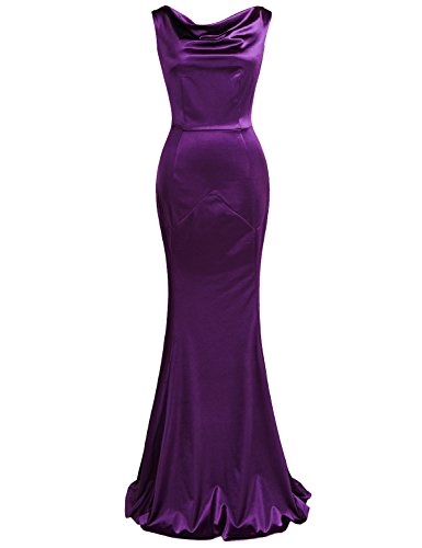 MUXXN Women's 30s Brief Elegant Mermaid Evening Dress (M, Purple)