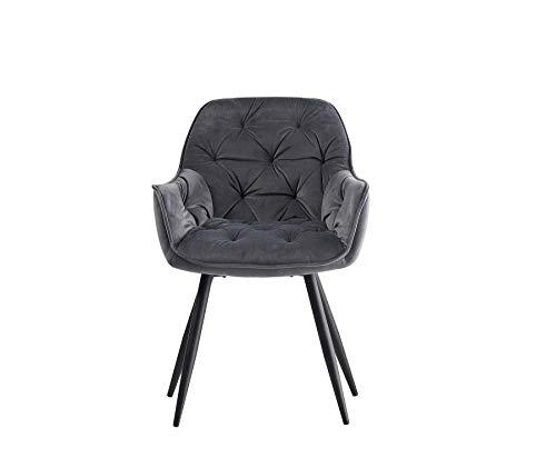 1X Esszimmerstuhl grau aus Stoff (Samt) Wohnzimmerstuhl Farbauswahl Retro Design Armlehnstuhl Stuhl mit Rückenlehne Sessel Metallbeine Schwarz (Grau, 1)