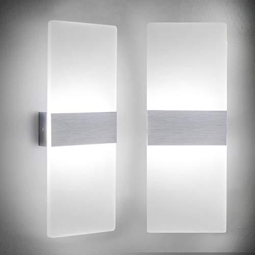 LED Wandleuchte Innen 12W Mordern Wandlampe Acryl Wandbeleuchtung Kaltweiß 6000K für Wohnzimmer Schlafzimmer Treppenhaus Flur (2 Pack)