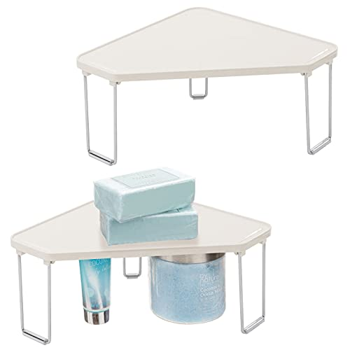 mDesign Estantería metálica de pie apilable – Elegantes rinconeras para baño – Mueble esquinero para champú, gel de ducha y jabón – Juego de 2 – crema