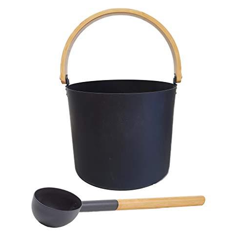 SudoreWell® Saunaeimer Saunakübel Set Kolo schwarz mit Saunaeimer und Saunakelle