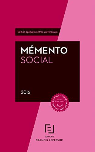 MEMENTO SOCIAL ETUDIANT 2016