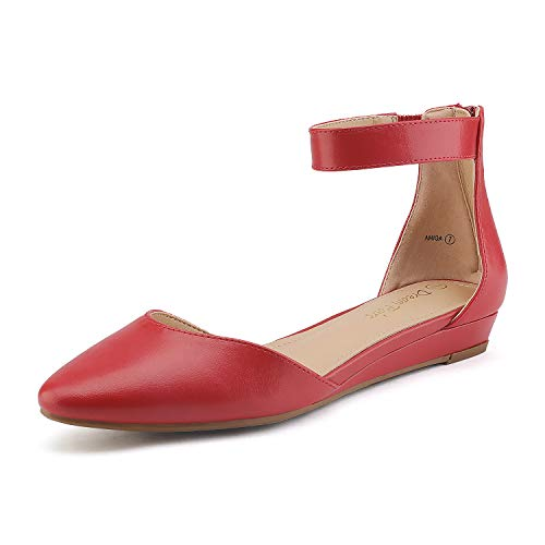 DREAM PAIRS Women's Red Pu Low Wedge Ankle Strap Flats Shoes Size 12 M US Amiga