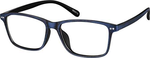 Zenni - Blokz Blue Blocker Computer Glasses | UV Filters Reduce Eyestrain | Blue Woodgrain Frame | Rectangle Universal Bridge Fit | Model 2020716