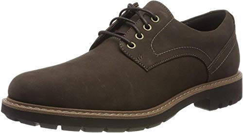 Clarks Batcombe Hall, Scarpe Stringate Derby Uomo, Marrone (Dark Brown Nub Dark Brown Nub), 39.5 EU