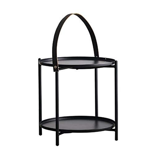 Jcnfa-side table Mesa auxiliar con bandeja de mano, mesa auxiliar redonda para sofá, mesa auxiliar de metal de 2 capas (color: negro, tamaño: 40 x 40 x 42 cm)