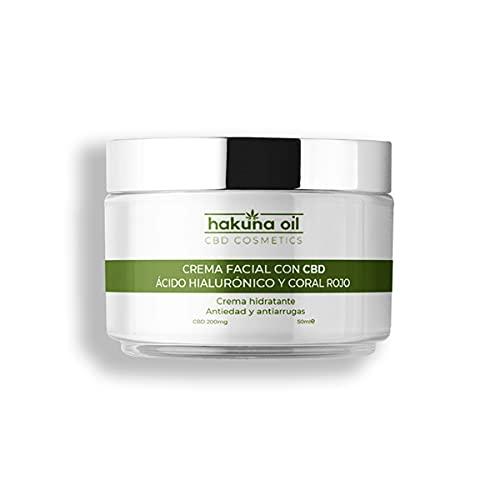- Hakuna Oil Cosmetics - Crema facial con aceite de Cáñamo | 50 ml | Antiarrugas con Ácido Hialurónico y Coral Rojo | hidrata, reafirma y tonifica | 100% Orgánica, Ecológica BIO.