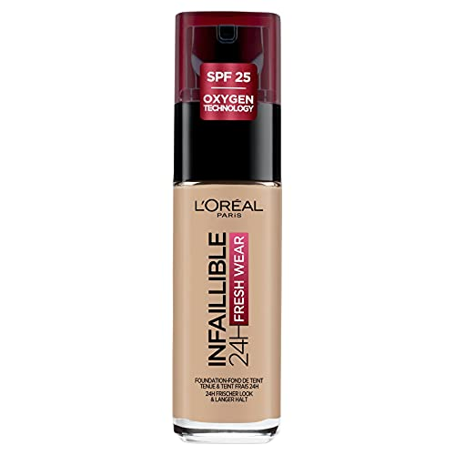 L'Oréal Paris Make-up designer Infalible 24H Fresh Wear Base de Maquillaje de Larga Duración - Tono 145 BeigeRose, 30 ml