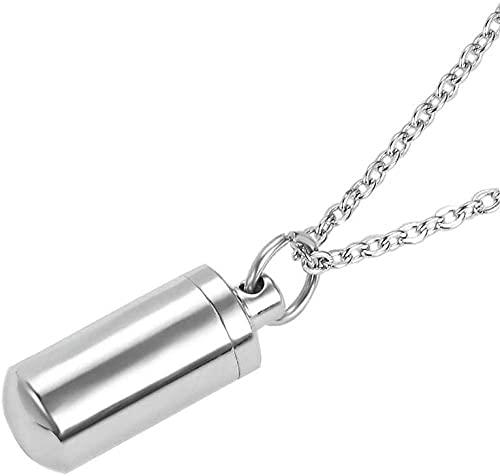 qiangloushui Collar Cilindro De Acero Inoxidable Joyería Conmemorativa para Colgante De Urna De Collar De Cenizas