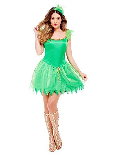 Smiffys- Disfraz de Hada de los bosques, Verde, con Vestido, Pieza para la Cabeza y alas, Color, S - EU Tamaño 36-38 (Smiffy'S 22154S)
