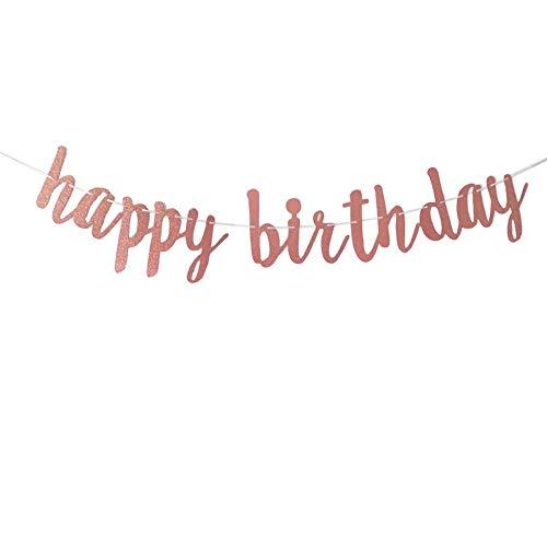 jenich Striscioni Buon Compleanno Happy Birthday Banner Happy Birthday Bandiera Ghirlanda Festone Bandierine Happy Birthday Oro Rosa per Decorazione di Feste di Compleanno per Ragazze Donna