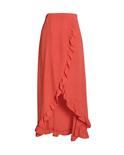 Falda Asimétrica Irregular De Las Mujeres, Largo Maxi Skirt Faldas De Fiesta Naranja S