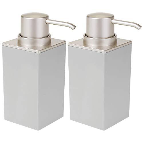 mDesign - Zeepdispenser in 2-delige set - zeeppomp - stijlvol - voor wastafel en gootsteen in badkamer en keuken - steen/satijn