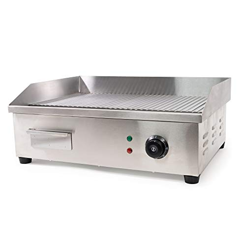 WYZworks Ribbed Electric Indoor Grill Counter top Griddle Adjustable Chef Thermostatic Control