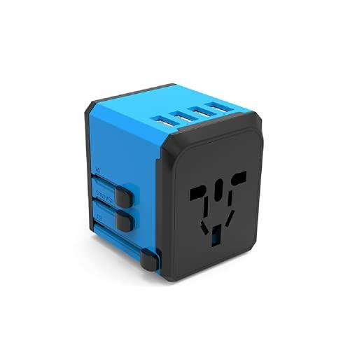ZADAI Adaptador de Corriente Universal Enchufe de Viaje Internacional con Puertos USB