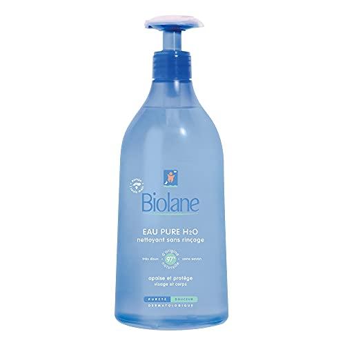 Biolane - Eau Pure H²O - Nettoyant pour le visage, le corps et le siège des bébés - Sans rincer - 1 flacon-pompe de 750 ml