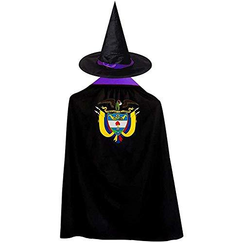 RJ Unique Cape Zauberer,Kolumbien-Abzeichen-Geier-Flaggen-Halloween-Kostüm-Hexen-Zauberer-Mantel-Kap Mit Hut M