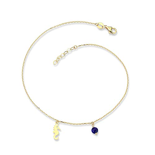 Altinbas Jewellery 14ct Yellow Gold Anklet for Women -Handmade Charm Anklet Best Gift for Valentine's Day, Birthday and Christmas, Genuine Gold Foot Chain Ankle Bracelets for Women and Girls| Seahorse