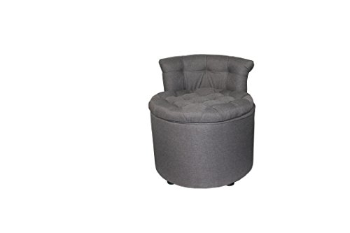 Ore International 24quotH Tufted Rolled Back Seating with Storage amp Ottoman