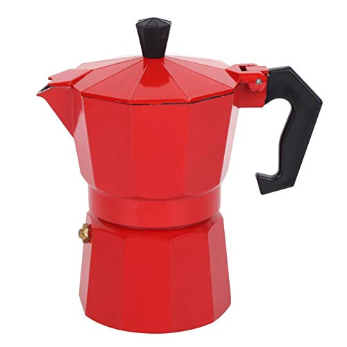Cafetera de aluminio - Cafetera expresso de 3 tazas de 150 ml, para uso en cafeterías de oficina Hone(rojo)