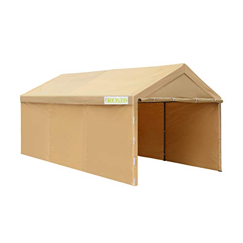Carport, REYLEO 10 x 20 ft Heavy Duty Carport with Removable Sidewalls and Doors, Car Canopy for Auto, Boat&Market Stall, Beige