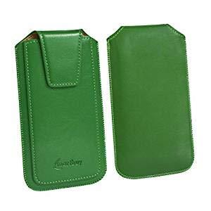 Emartbuy Sleek Range Verde qualità PU Pelle Custodia Case Cover Sleeve (Size 2) con Linguetta Compatibile con Smartphone Elencati sotto
