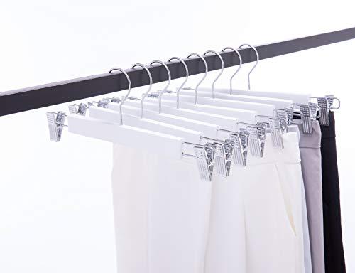 Cocomaya 36 cm Weiß Luxus Rock Kleiderbügel Hosen Kleiderbügel Hosen Kleiderbügel mit 2 verstellbaren U-Clips, 10er Pack