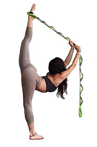 SANKUU Yoga Strap, Multi-Loop Strap, 12 Loops Yoga Stretch Strap, Nonelastic Stretch Strap for Physical Therapy, Pilates, Dance and Gymnastics with Carry Bag(Green)