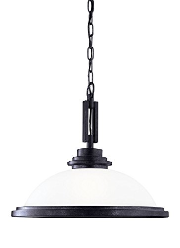 Sea Gull Lighting 65660-839 Winnetka - One Light Pendant, Blacksmith Finish with Satin Etched Glass
