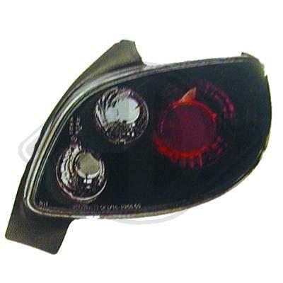 4225495 achterlichten zwart voor 206 CC type 1998 tot 2005