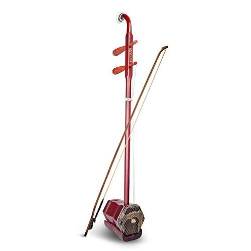 Kalaok Hölzerne Erhu chinesische 2-saitige Geige Violine Huqin sechseckige Form Stachel Instrument mit Bogen Brücke Tragetasche