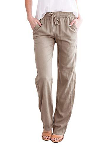 Minetom Pantalones Largos de Lino para Mujer Verano Pantalones Acampanados Casual Baggy Pantalón Palazzo con Bolsillos Cordón B Caqui L