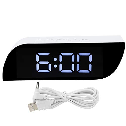 Hztyyier Reloj Despertador Digital 4,7 x 14 cm Reloj de Pared de Escritorio con Espejo Moderno para Dormitorio Oficina en casa Conversión de 12/24 Horas Brillo Ajustable Alarma de cabecera(Blanco)