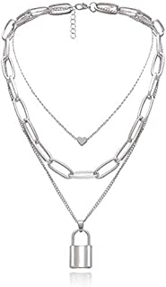 Layered Necklace Punk Jewelry Lock and Key Long Chain Necklaces for Women Men Teen Girls (Silver)