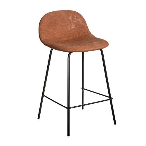 Taburete Alto con Respaldo tapizado marrón de Polipiel y Metal de 42x36x80 cm - LOLAhome