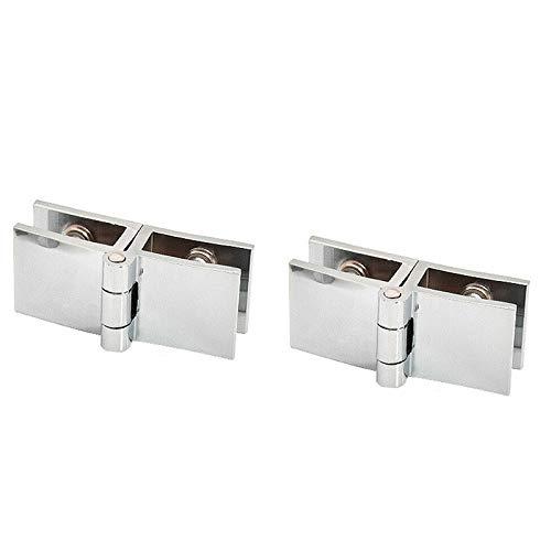 Powertool - Abrazadera de puerta con bisagra de aleación de zinc, bisagra duradera para puerta de armario de cristal para cristal de 5 a 8 mm de grosor, plateado