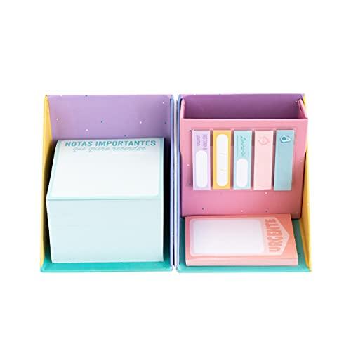 Caixa com bloco de notas, notas adesivas e porta-lápis