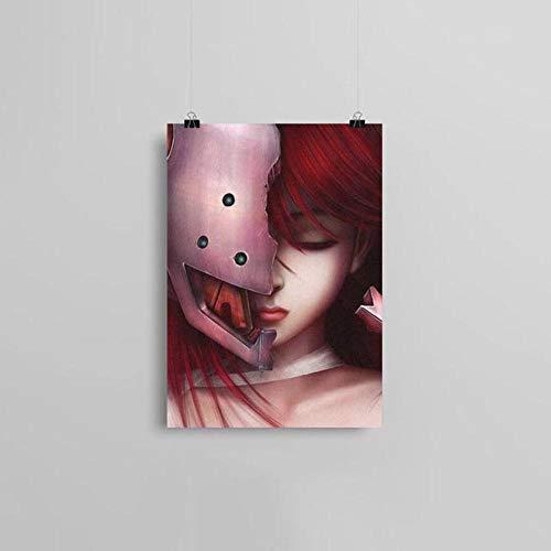 Leinwandbild, Motiv Elfen Lied Anime, nordischer Stil, Heimdekoration, Gemälde Poster für Wohnzimmer Cuadros, BO YXCV1908-03,10 x 15 cm, ohne Rahmen