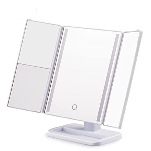 ZCZZ Espejo de Maquillaje LED Espejo de Mesa Cuadrado Lindo Espejo de Princesa Europea Espejo de Maquillaje portátil Grande con Espejo de Maquillaje Ligero (Color: Modelos bi