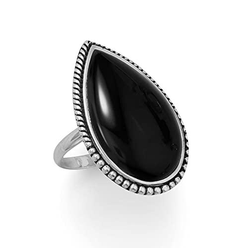 Anillo de plata de ley 925 grande con borde de cuentas, una piedra en forma de pera en el centro mide 28 mm x joyas regalos para mujeres – Rango de opciones de tamaño del anillo: L a T, Metal, Onyx,