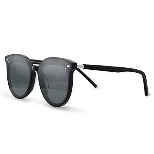 CEyyPD Gafas de sol retro de la placa de la moda femenina nuevo redondo negro marco grande hombres negro marco gris lente protección UV400