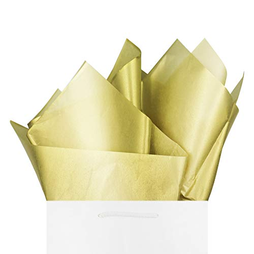 """Gold Christmas Tissue Paper Gift Wrapping 60 Sheets Premium Quality Metallic Gold Color Recyclable Bulk, 26"""" x 20"""", Perfect for Art Craft Decoration, Birthday, Wedding, Baby Shower by BllalaLab"""