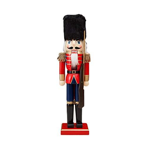 Marionnette en bois de Noël, artisanat fait à la main de marionnette en forme de poupée en forme de soldat de 38cm pour Noël, décoration de Noël, décoration de bureau de table, accueil, centre comme