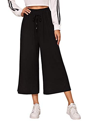 SOLY HUX Damen Hose Weites Bein Hosen Pants Elastischer Bund Jogginghose mit Kordelzug Sport Freizeit Yogahosen Damenhose Schwarz #072 M