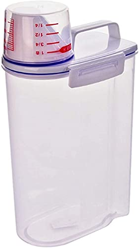 WSVULLD Food Storage Containers Set Kitchen Grain Sugar Flour Storage Beans Jar Bottle Transparent With Measuring Cup Container Sealed Rice Bucket Storage Box 3L (Color : White, Size : 29.5x14x7.5cm