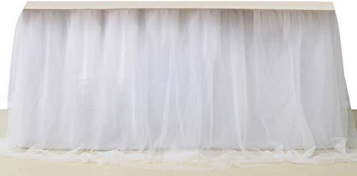 SoarDream Round or Rectangular Table Tutu Skirt White 270cm Ruffle Table Skirt Custom Wonderland Theme Party Table Tulle Table Skirting