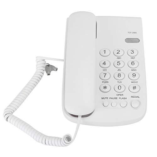 Aoca Teléfono de Oficina Comercial, con Flash, re-marcación, Pausa, Funciones de Silencio, Montaje en Escritorio/Pared, para habitación de Invitados doméstica, Hotel, línea Fija Fija, Blanco