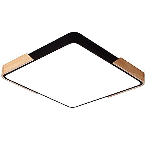 Luz de techo de color Tira de metal cuadrada Madera Acrílico Lámpara de techo LED Luz de panel empotrada regulable Lámpara de iluminación de techo de dormitorio Lámpara de cocina de sala de estar